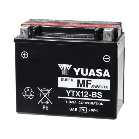 YUASA Batterie Moto YTX12-BS avec pack acide - 12V – 10Ah
