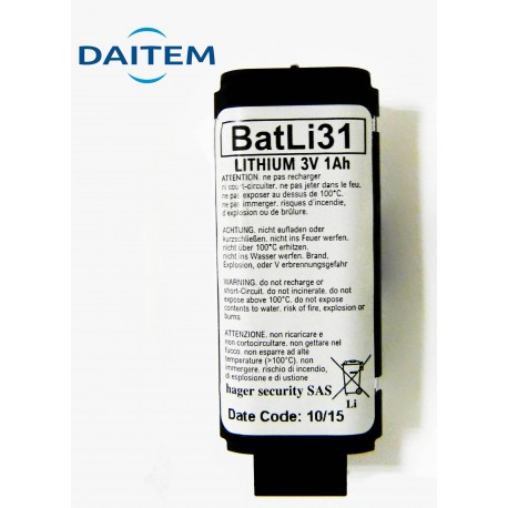 DAITEM Pile Batterie Alarme BATLI31 - 3V - 1Ah
