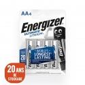 ENERGIZER L91 - Format LR6 - AA Ultimate Lithium - Blister de 4 piles