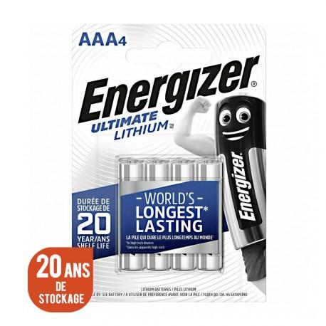 ENERGIZER L92 - Format LR03 - AAA Ultimate Lithium - Lot de 8 piles - 2 Blisters de 4 piles